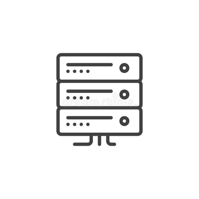 Computer server line icon. Outline vector sign, linear style pictogram isolated on white. Server rack symbol, logo illustration. Editable stroke royalty free illustration