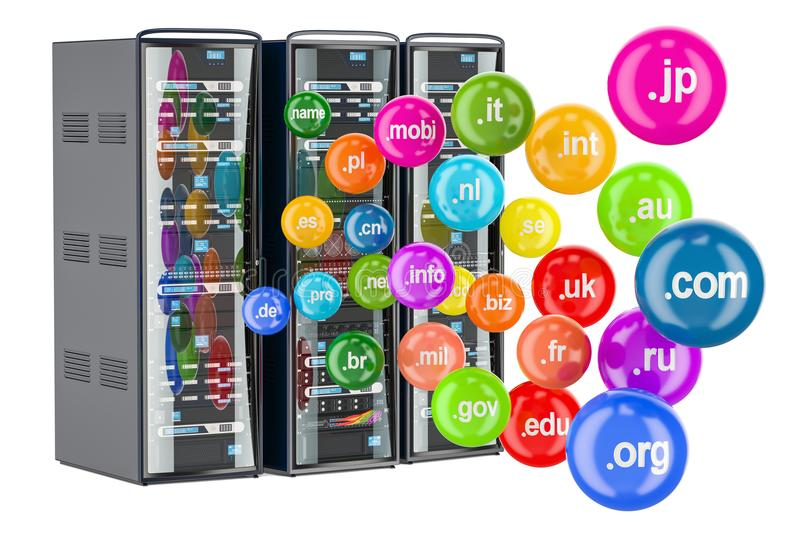 Computer Server Racks with domain names, 3D rendering royalty free illustration