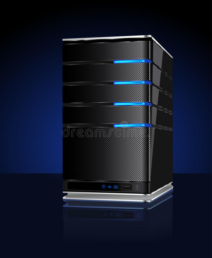 Computer Server With Reflection Stock Images
