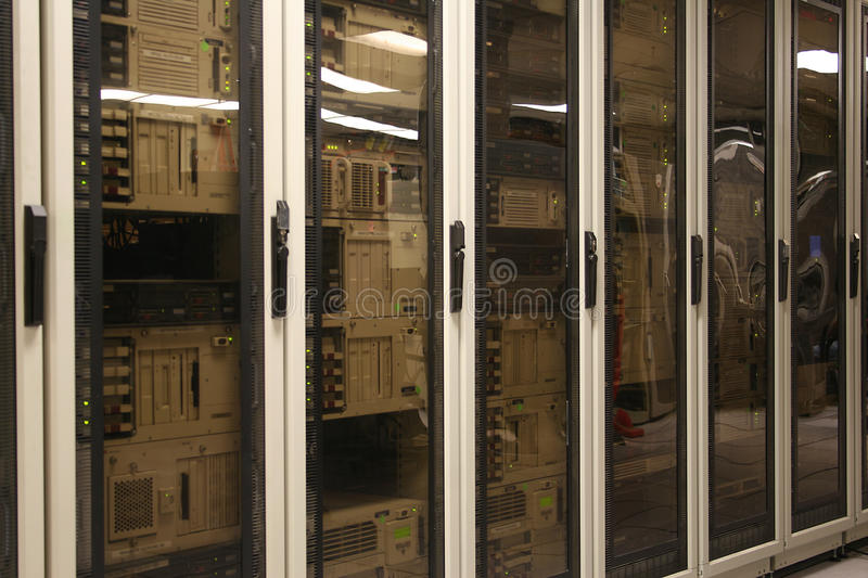 Computer Server Room. A row of cabinets in a computer server room or datacenter