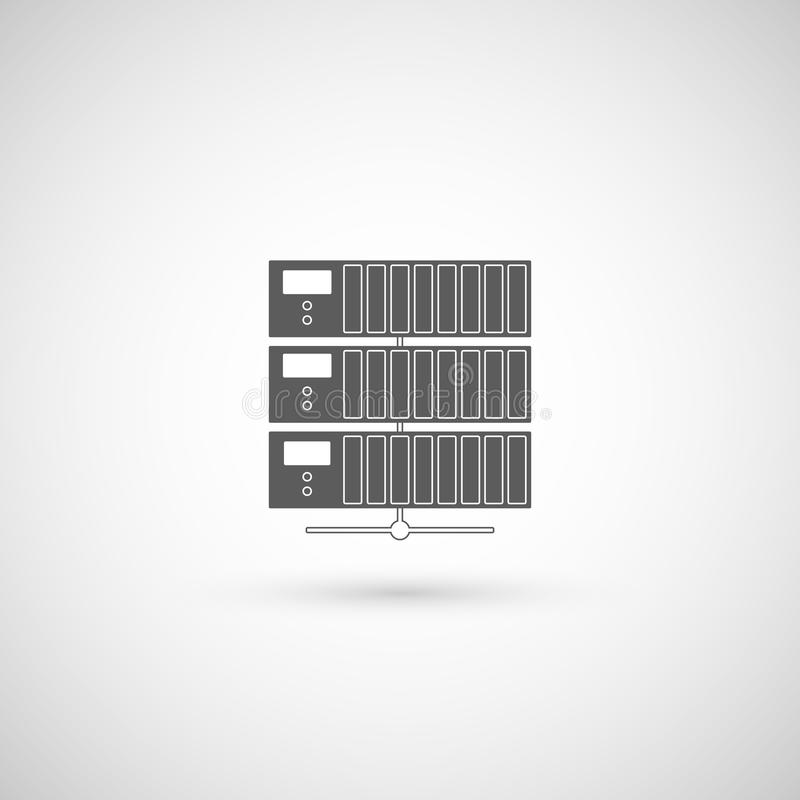 Computer-Serverikone, flaches Design Auch im corel abgehobenen Betrag stock abbildung