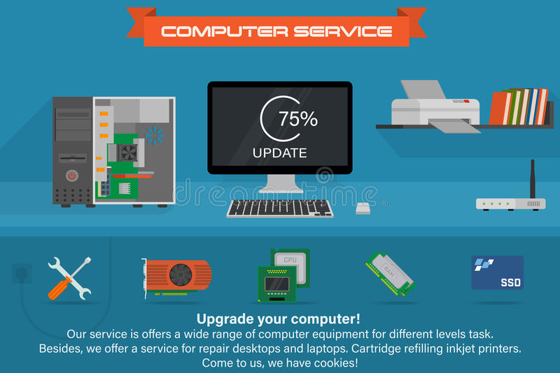 Computer service banner. Running the process of updating. Desktop computer with printer and books. vector illustration