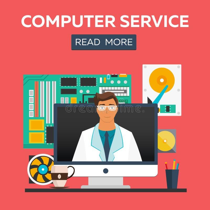Computer service flat illustration concepts set. Flat design concepts for web banners, web sites, printed materials. Infographics. Creative illustration stock illustration