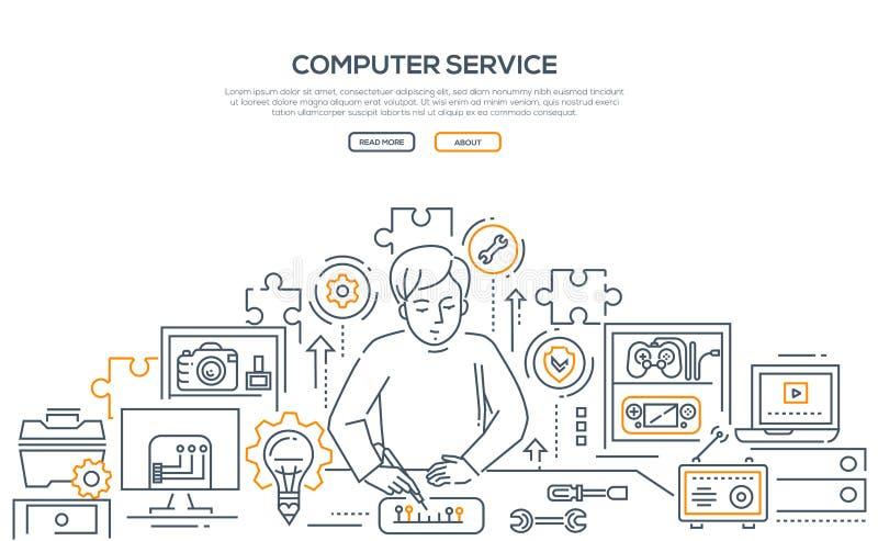 Computer service - line design style illustration royalty free illustration