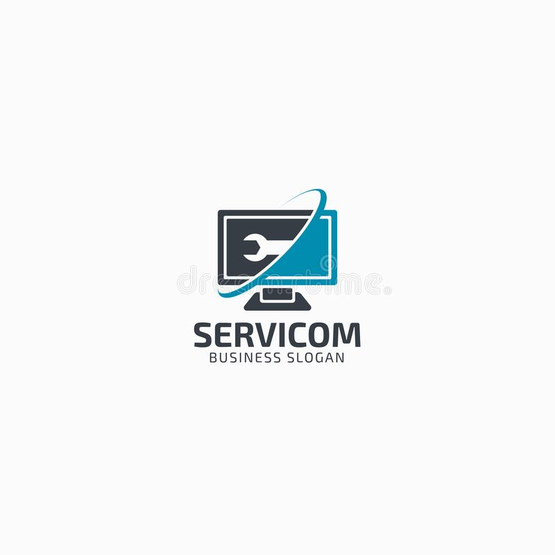 Computer Service Logo Template.  royalty free illustration
