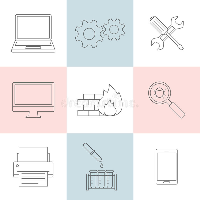 Computer service outline icons vector illustration