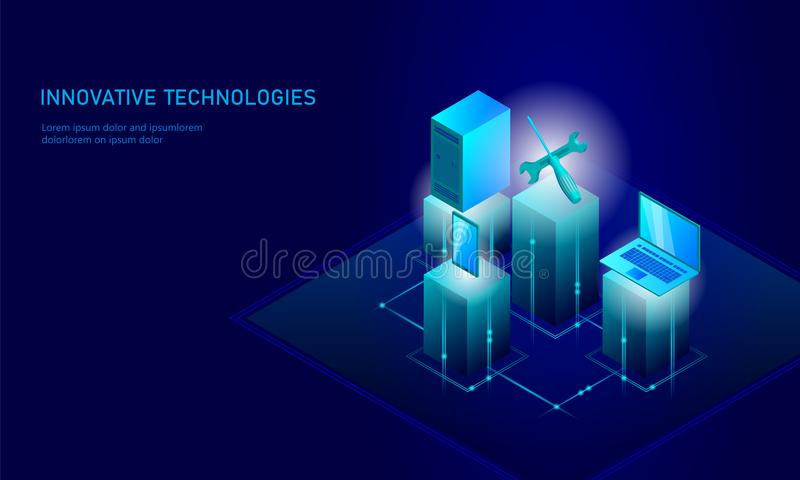 Computer service repair isometric. 3d blue flat technical support screwdriver future modern banner business technology. Process PC test diagnostic infographic vector illustration
