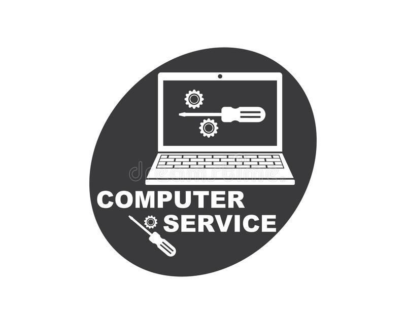 Computer service and repair logo icon vector illustration. Design vector illustration