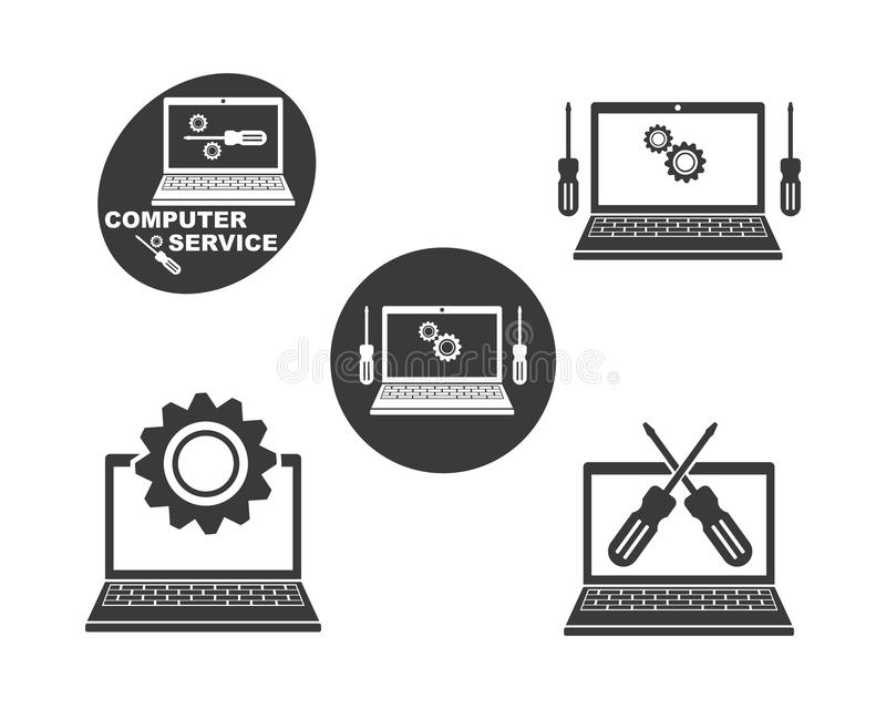 Computer service and repair logo icon vector illustration. Design stock illustration