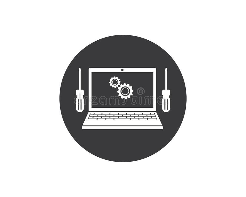 Computer service and repair logo icon vector illustration. Design royalty free illustration