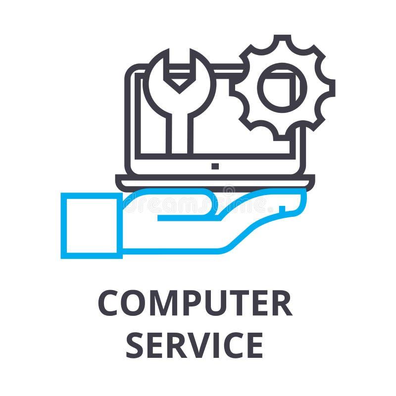Computer service thin line icon, sign, symbol, illustation, linear concept, vector royalty free illustration