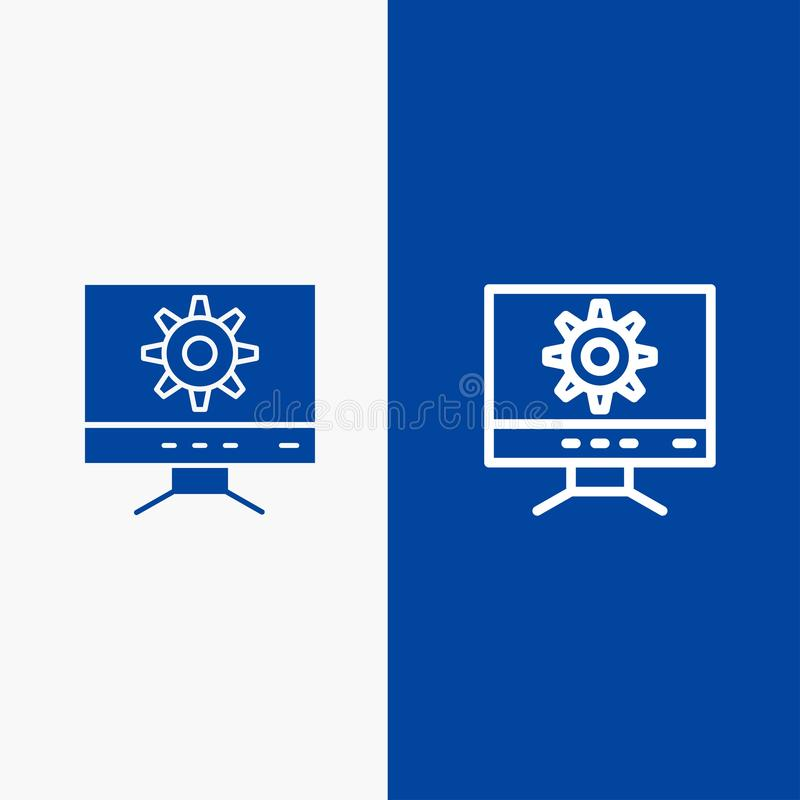 Computer, Setting, Design Line and Glyph Solid icon Blue banner Line and Glyph Solid icon Blue banner royalty free illustration