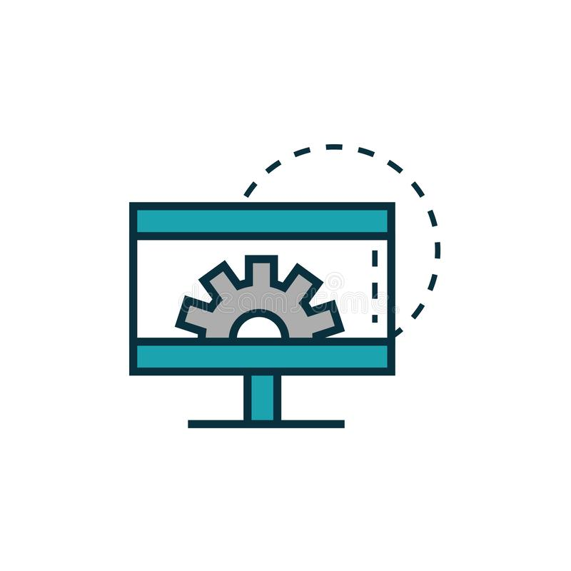 Computer setting gear work tools engineering icon royalty free illustration