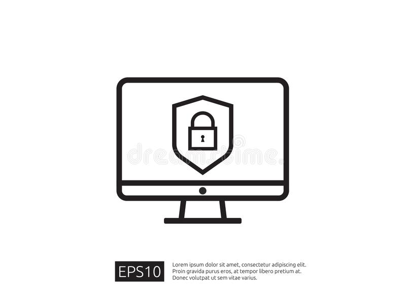 Computer shield line icon, Privacy Data protection and Internet. VPN Security Concept vector illustration stock illustration
