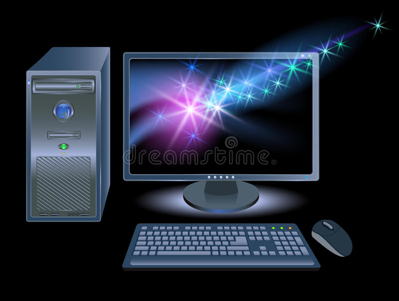 Computer with shining stars. Computer, monitors, mouse and keyboard with shining stars stock illustration