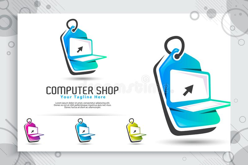Computer shop vector logo with simple and modern concept designs, illustration of laptop and price tag as a symbol icon of digital. Template online computer royalty free illustration