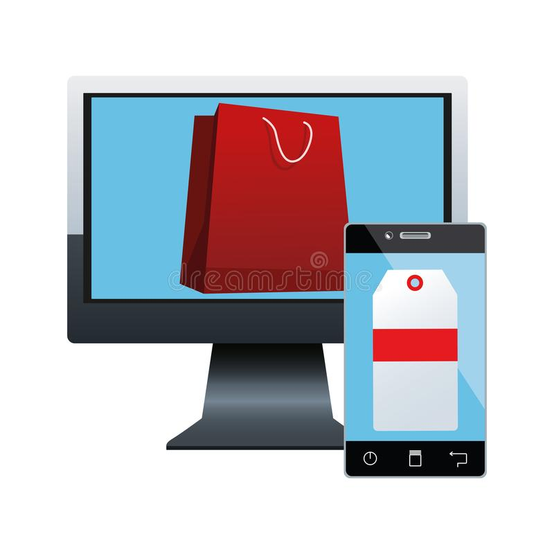 Computer with shopping bag on screen and smartphone with price tag on screen, colorful design vector illustration
