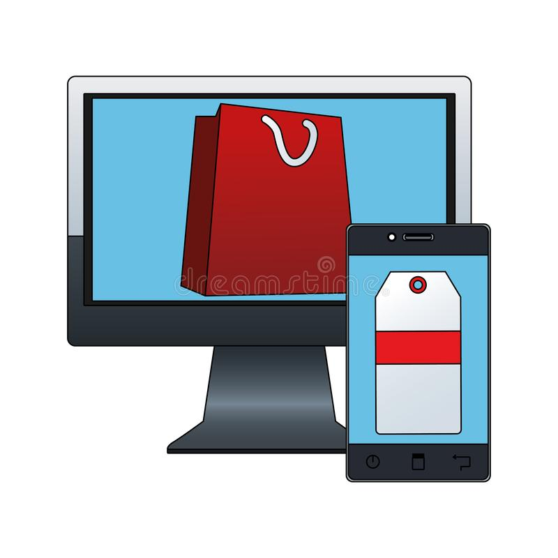 Computer with shopping bag on screen and smartphone with price tag on screen vector illustration