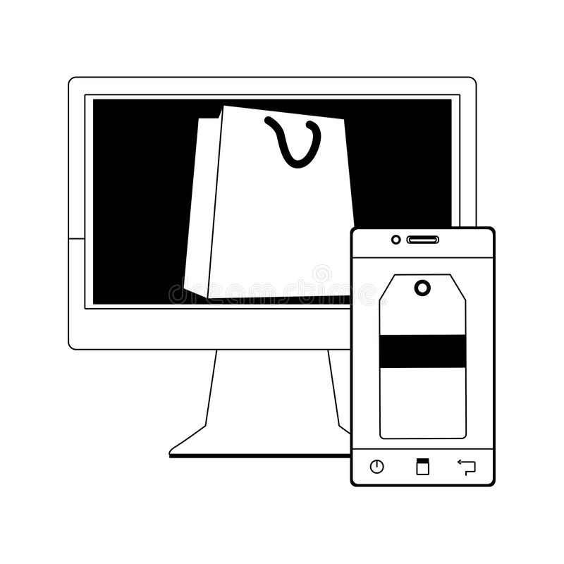 Computer with shopping bag on screen and smartphone with price tag on screen, flat design royalty free illustration