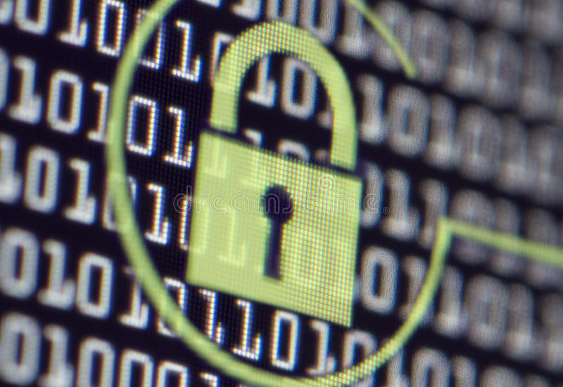 Computer-Sicherheitsschloss lizenzfreies stockbild