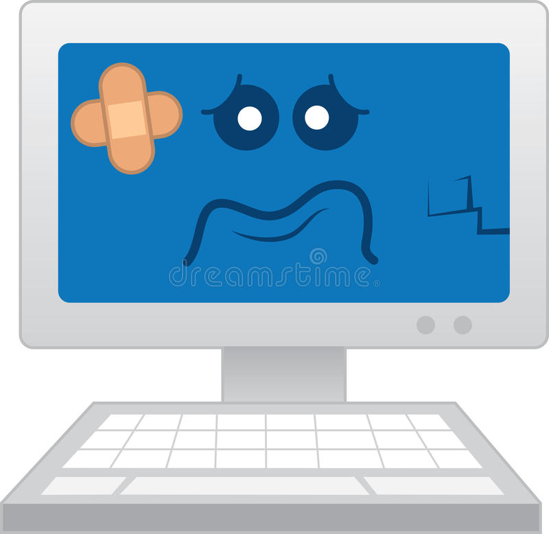 Computer Sick. Isolated computer with sick cartoon face vector illustration