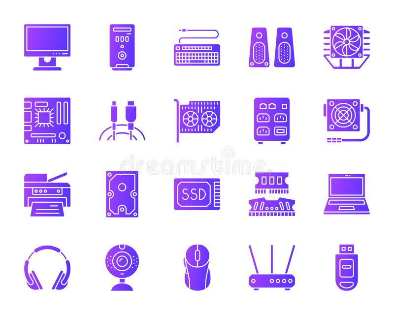 Computer simple purple gradient icons vector set stock illustration