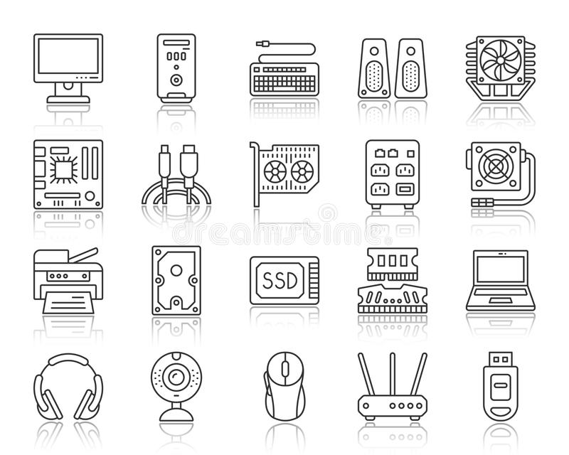 Computer simple black line icons vector set. Computer thin black line icons set. Outline web sign kit of electronics. Gadget linear icon collection includes usb vector illustration