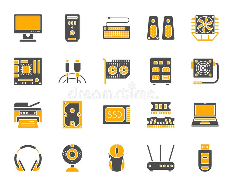 Computer simple color flat icons vector set. Computer silhouette icons set. Isolated on white web sign kit of electronics. Gadget pictogram collection includes royalty free illustration