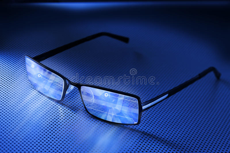 Computer Smart Eye Glasses Technology stock photo