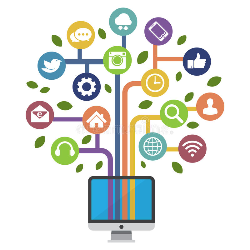 Download Computer With Social Media Icons Stock Vector - Image: 34543478