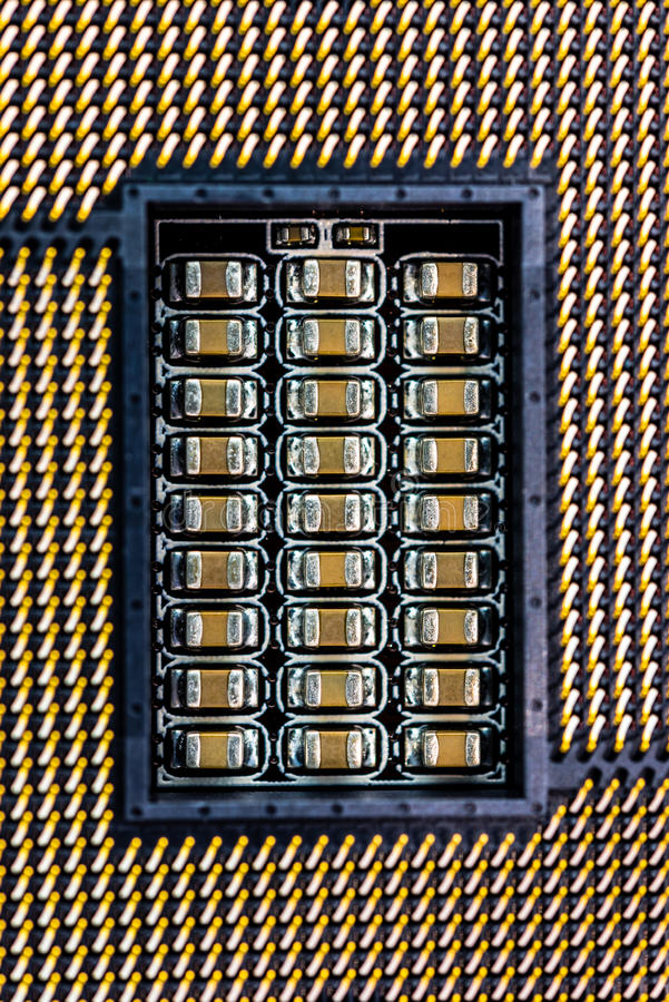 Computer socket close-up. Computer processor socket with contacts, view close-up royalty free stock photo