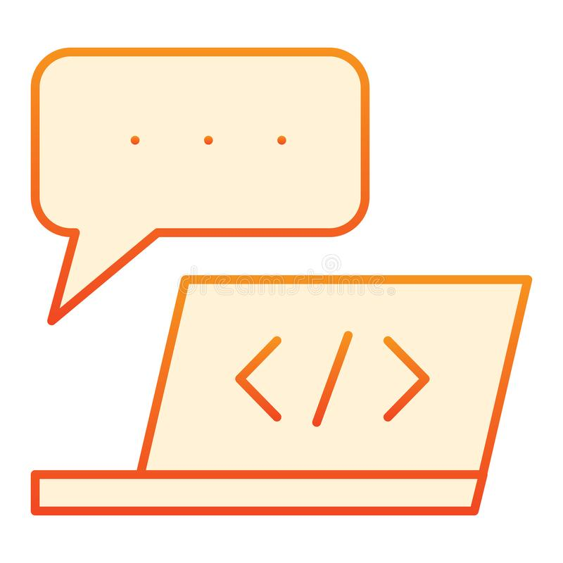 Computer software flat icon. Laptop development orange icons in trendy flat style. Notebook and speech bubble gradient. Style design, designed for web and app royalty free illustration