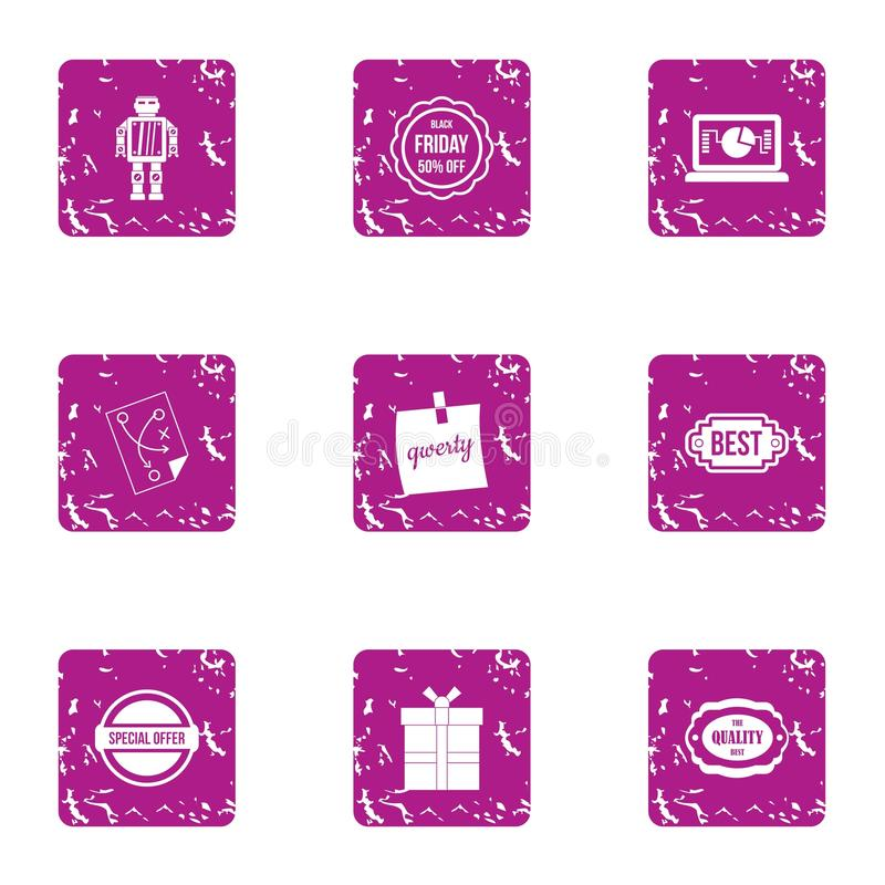 Computer software icons set, grunge style. Computer software icons set. Grunge set of 9 computer software vector icons for web isolated on white background vector illustration