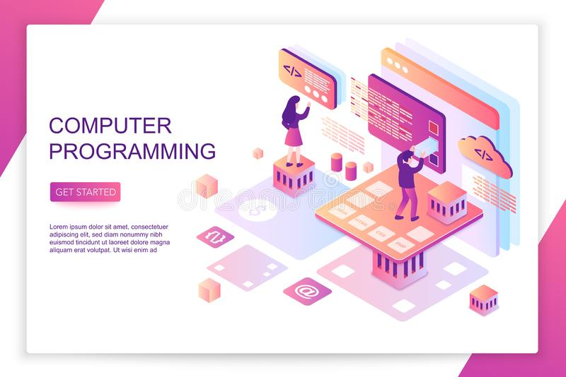 Computer software programming, coding, front end development, modern 3d isometric vector website landing page template royalty free illustration
