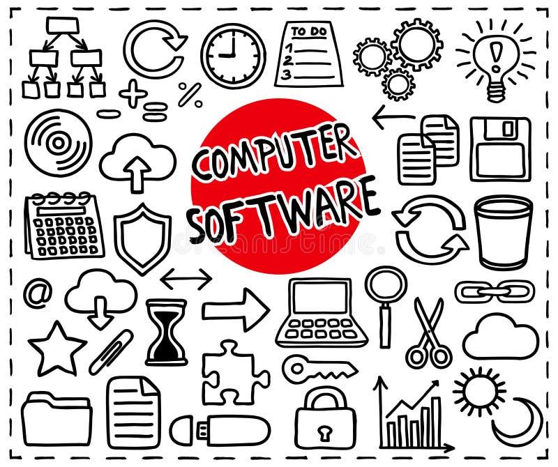 Computer Software set. Freehand doodle icons. Graphic elements - app icons such as copy, paste, cut, etc, cloud computing, diagram, puzzle piece, laptop, light royalty free illustration