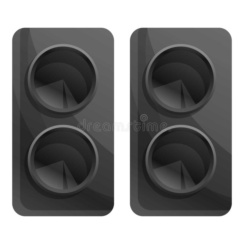 Computer speakers icon, cartoon style vector illustration