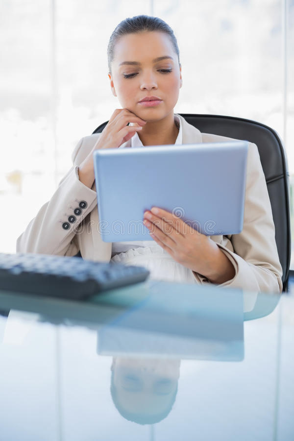 Computer specializzato concentrato della compressa della tenuta della donna di affari immagine stock