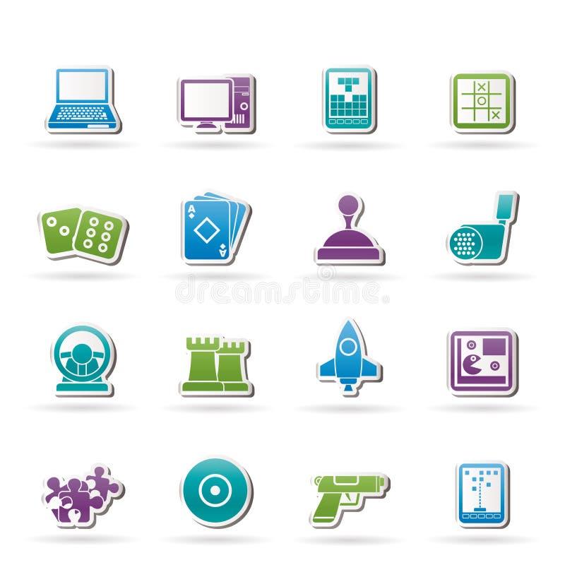 Computer-Spiel-Hilfsmittel und Ikonen vektor abbildung