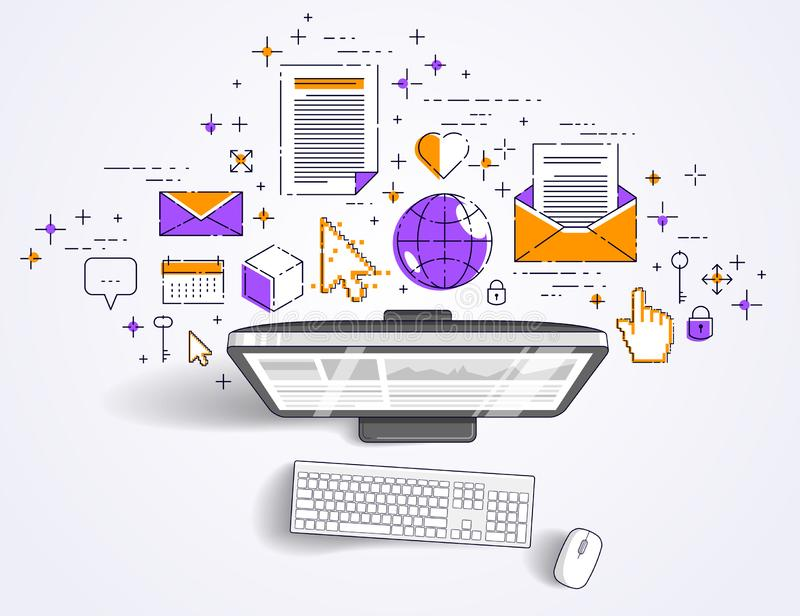 Computer with statistics infographics and set of icons, online business, internet electronic finances. Computer with statistics infographics and set of icons stock illustration