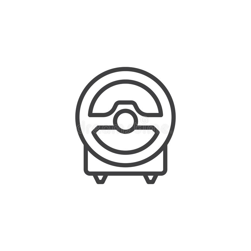 Computer steering wheel line icon stock illustration