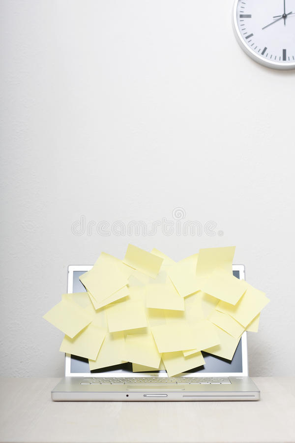 Computer with sticky notes stock images