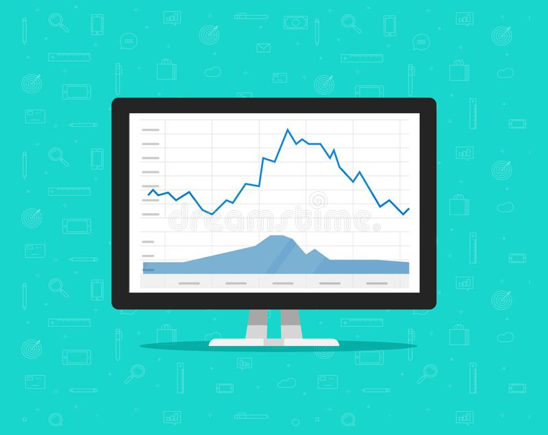 Computer with stocks graphs vector illustration, flat cartoon desktop pc monitor with stock charts on screen, concept or vector illustration