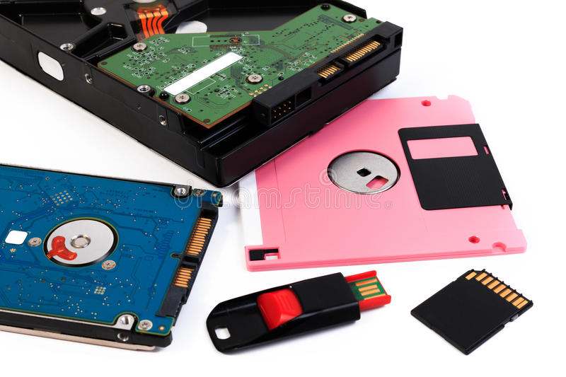 Computer storage devices. Storage hardware royalty free stock photos