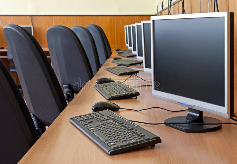 Computer study lab. Computers in the computer laboratories or study room ideal for web and prin usage royalty free stock images