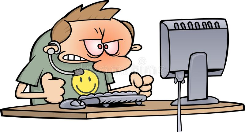 Computer support. A frustrated computer support toon guy by his office desk, staring at a computer screen royalty free illustration