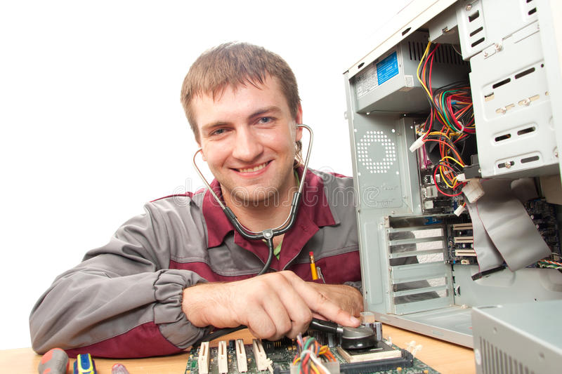 Computer support engineer. Isolated on white stock photos