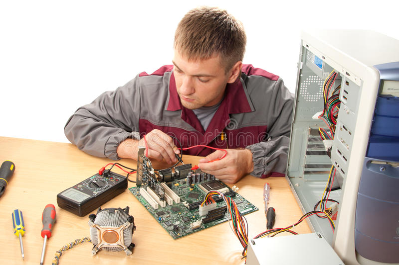 Computer support engineer. Isolated on white stock images