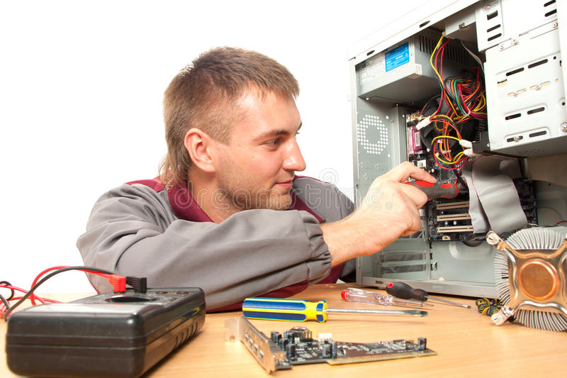 Computer support engineer. Isolated on white royalty free stock image