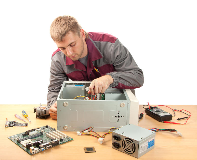 Computer support engineer. Isolated on white royalty free stock photos