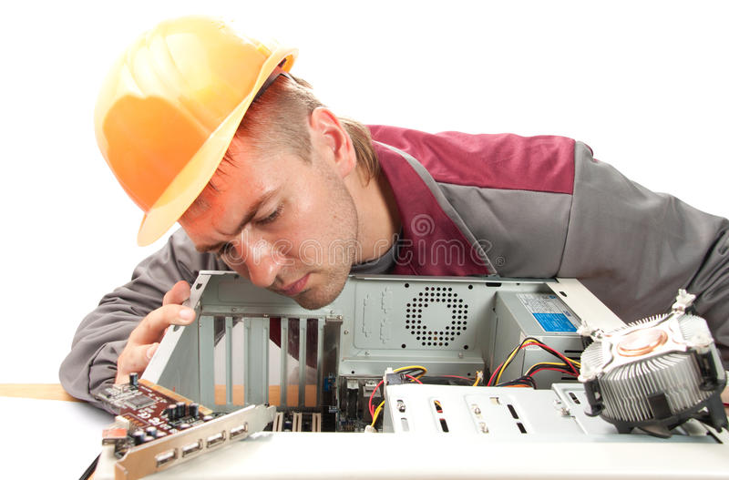 Computer support engineer. Isolated on white stock photo